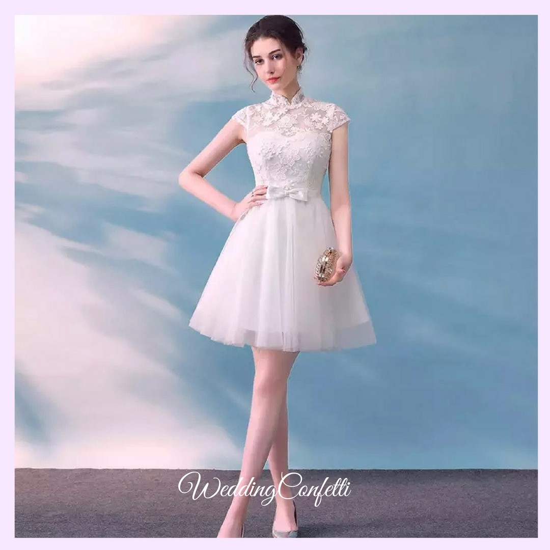 Brand New* Laurentia Wedding Bridal White Mandarin Collar CheongSam ...