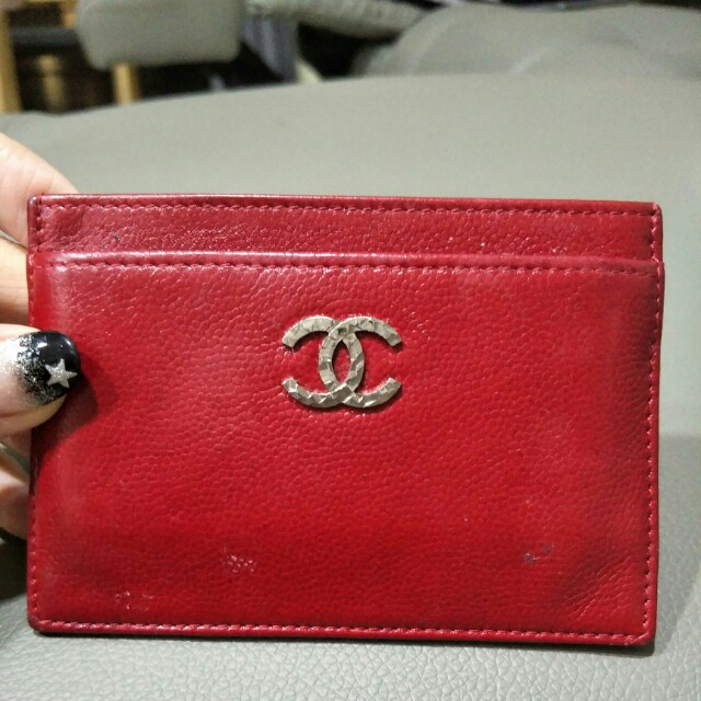 6705dd527fba26 Authentic Chanel Card Holder Red Caviar, Luxury, Bags & Wallets ...