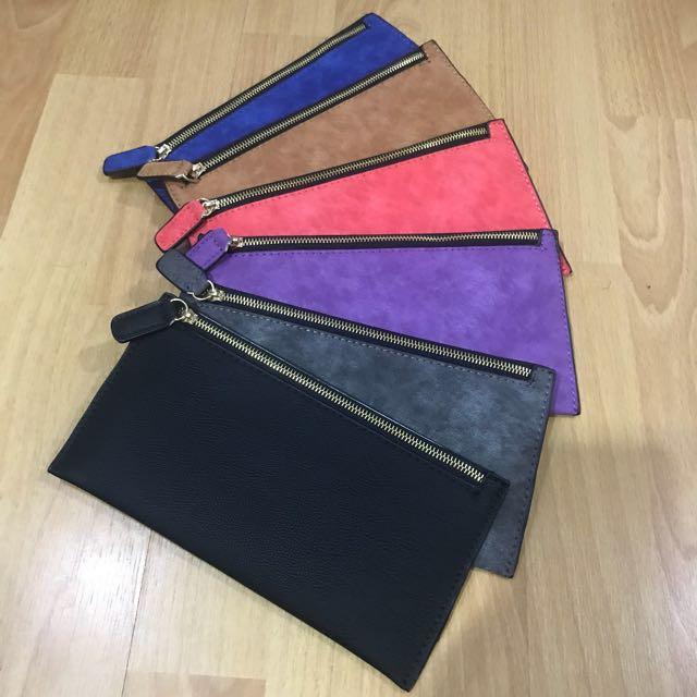 Clutch wallet pouch (black, red, watermelon, purple, grey, blue)