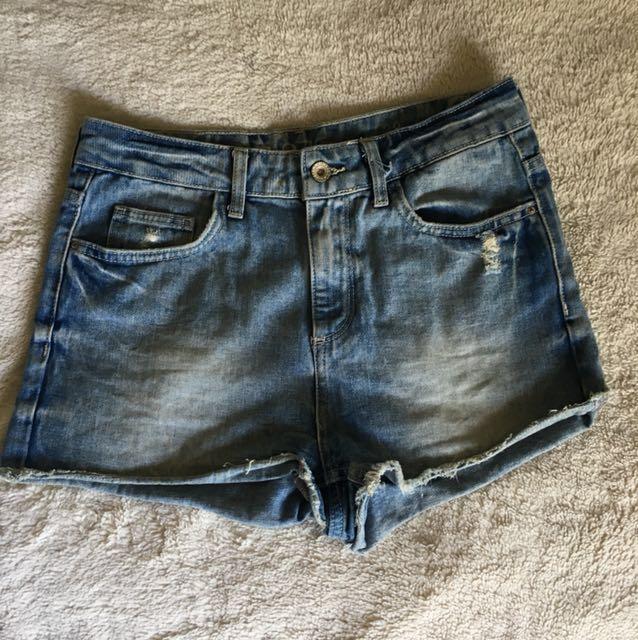 Denim high rise shorts.