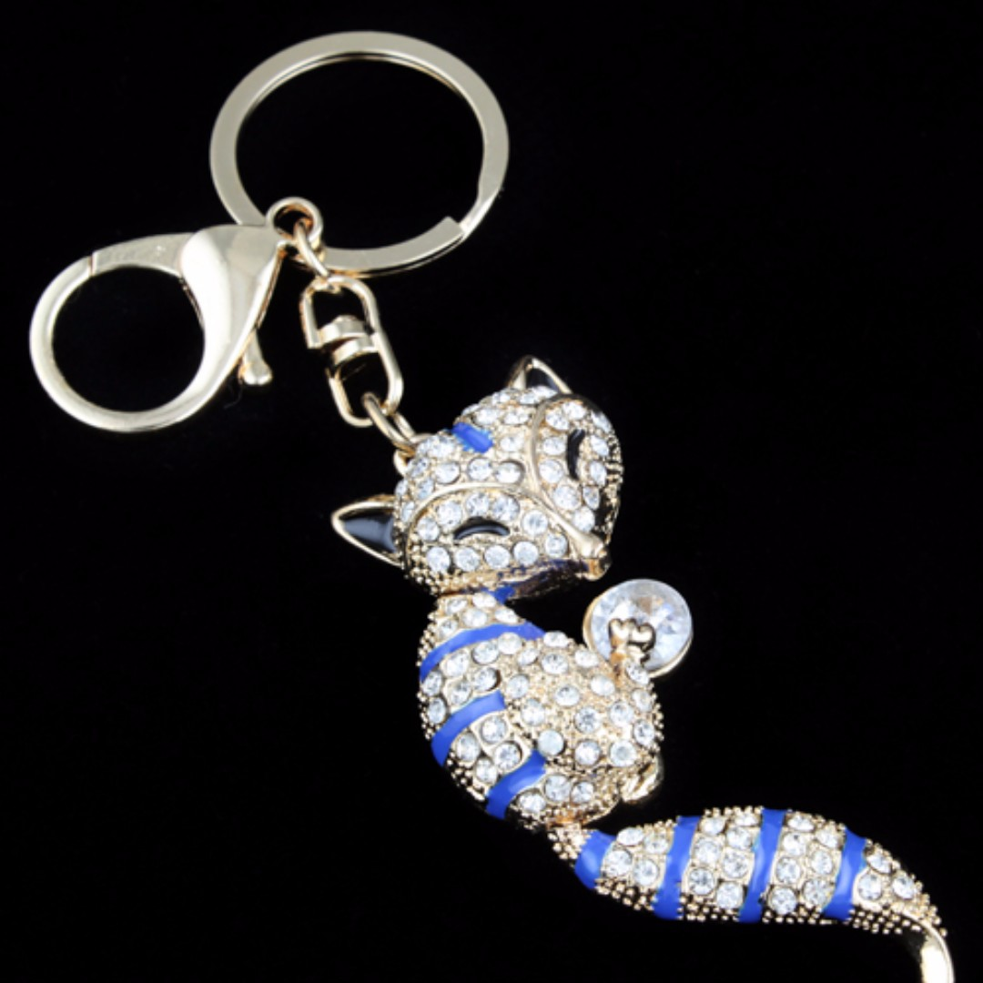 Diamond Bling Fox Key Chain - Fox (Blue) c01f699a2