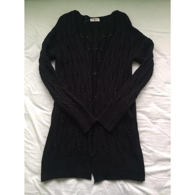 Envy Look Black Open-knit Cardigan