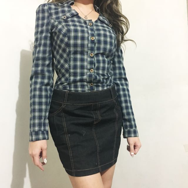 Faux denim and checkered dress ( one piece)