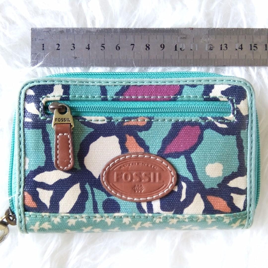 Fossil keyper short wallet green rose