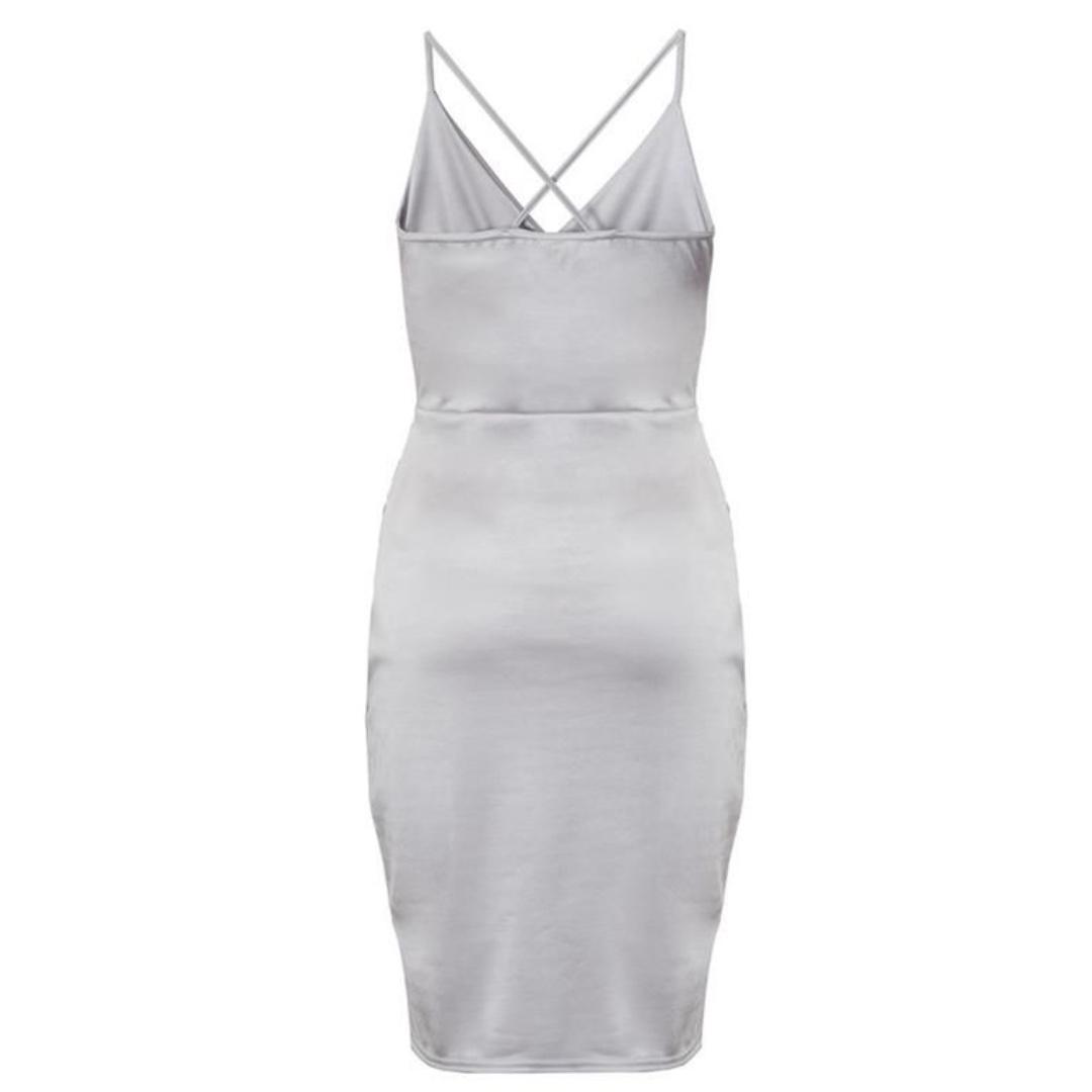 Grey Slinky Wrap Over Bodycon Dress