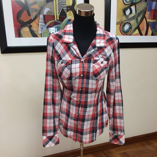 Guess checkered button down blouse