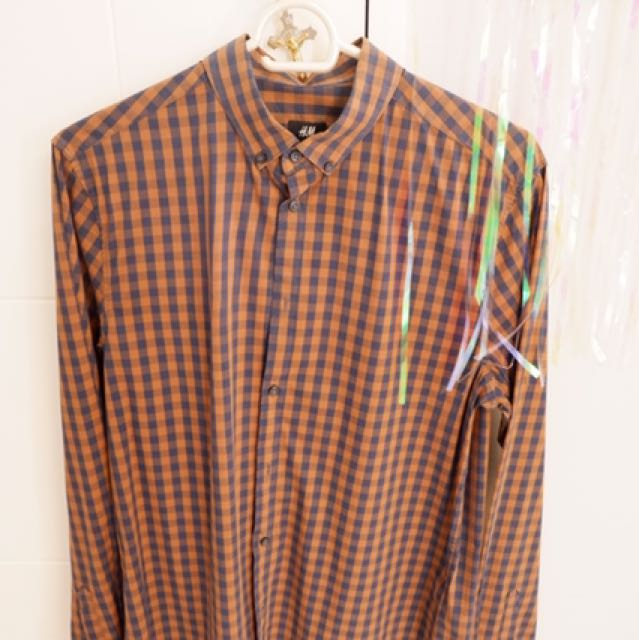 H&M BROWN & BLUE checkered long sleeved polo