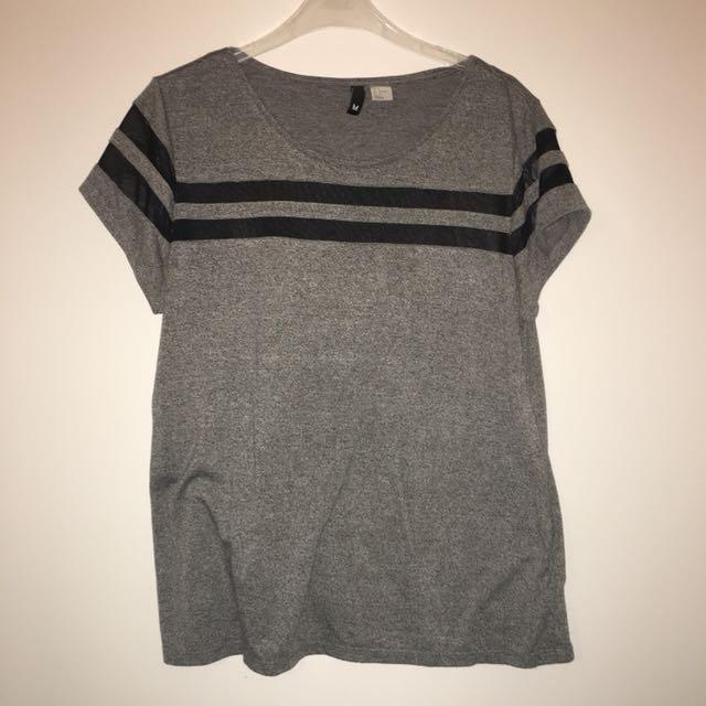 H&M grey tshirt w sheer black panels
