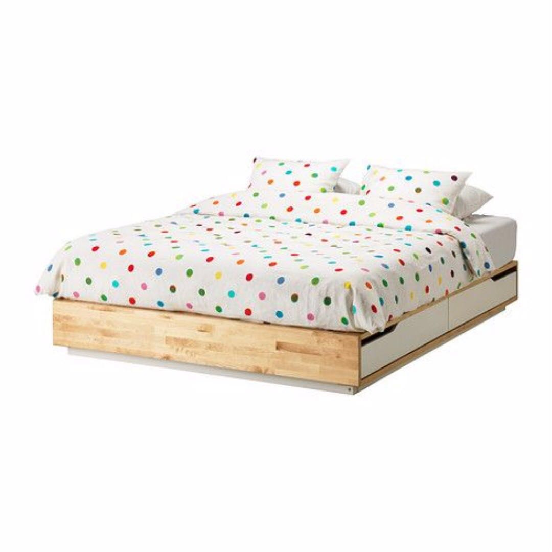 Ikea Mandal Full/Double Size Bed Frame (White Drawers) and Mattress ...