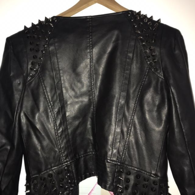 Leather look studded jacket