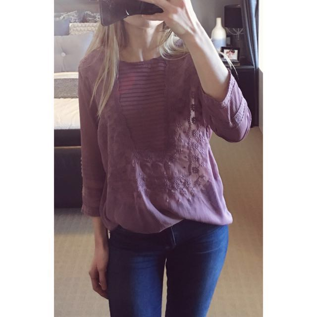 Lee Cooper sheer mauve embroidered blouse top, Size 14