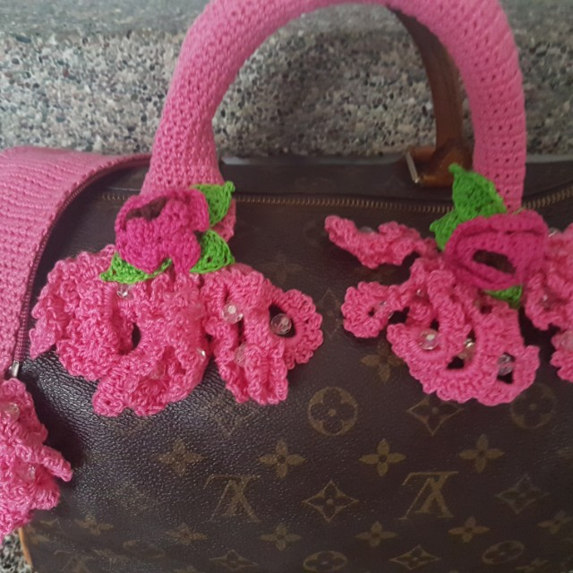 Multicolore crocheted bag handle cover LV Speedy