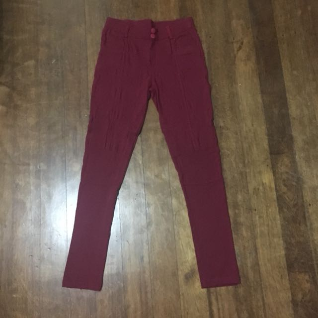 Maroon stretchable pants