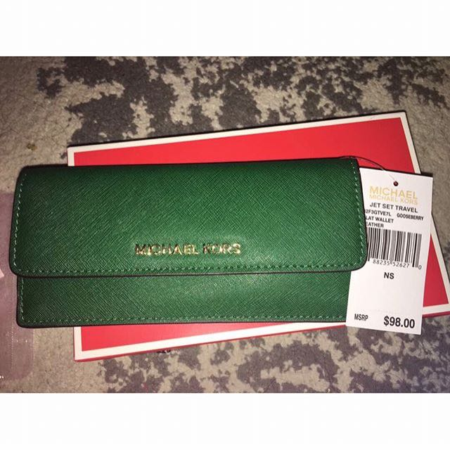Michael kors green wallet authentic