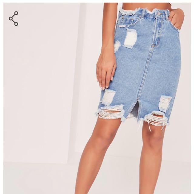 Misguided Busted Hem Denim Midi Skirt