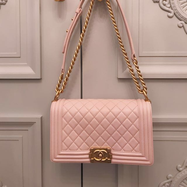 New Chanel Boy bag in Light Pink with Matte Gold Hardware 2a34cfccaf561