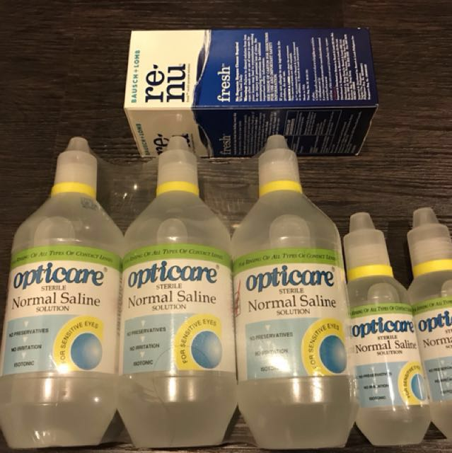 Opticare Saline and Renu contact Lens solution