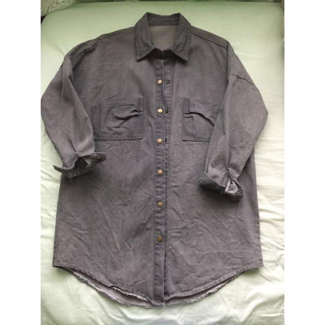 Oversized Long Denim Jacket/coat Gray