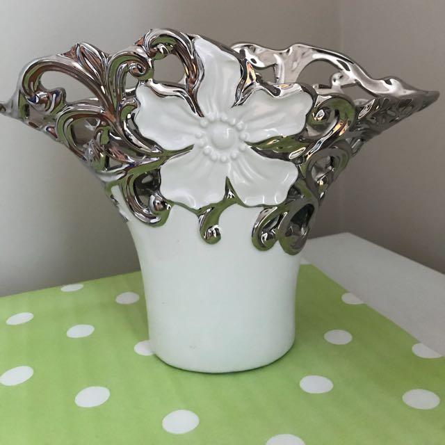 Pretty Ceramicsilver Flower Vase Nego Furniture Home Decor On