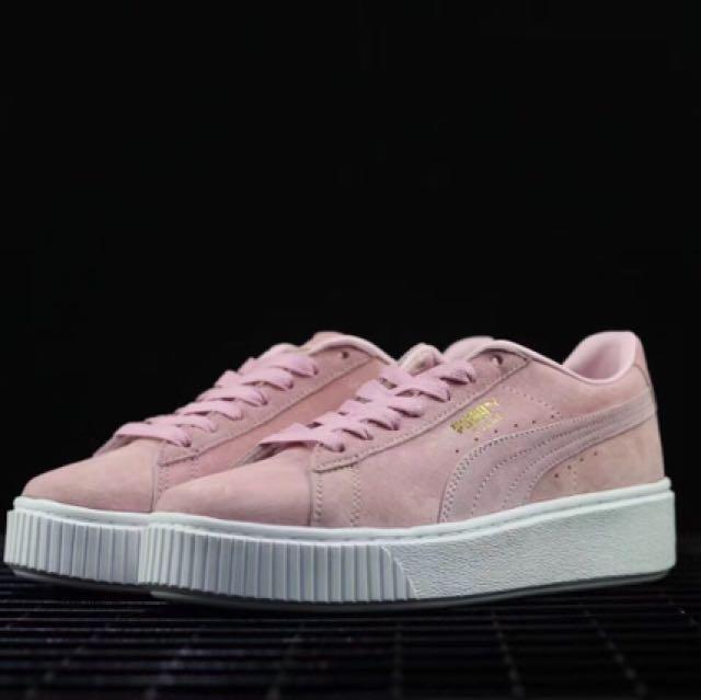 new style 7d868 3118a Puma White -Gold Basket Platform core pink, Women's Fashion ...