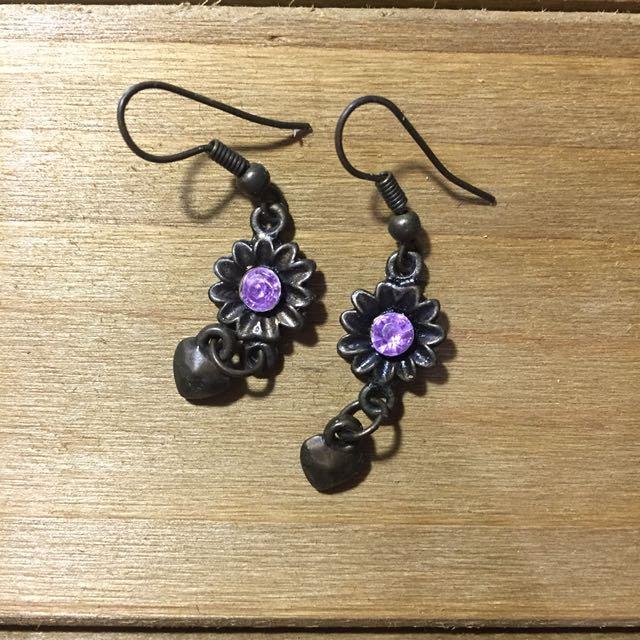 Purple Flower Dangling Earrings