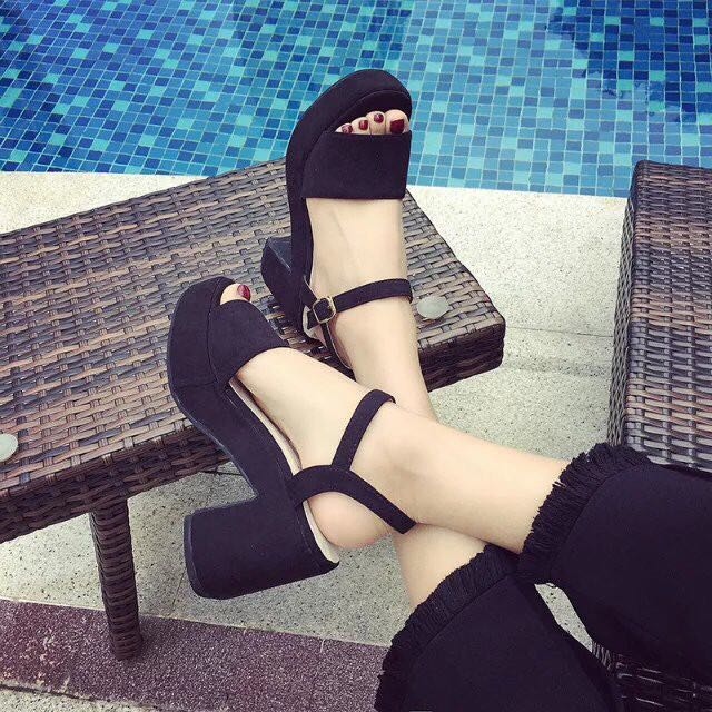 Ready Stock Ankle Strap Heels (Thick)