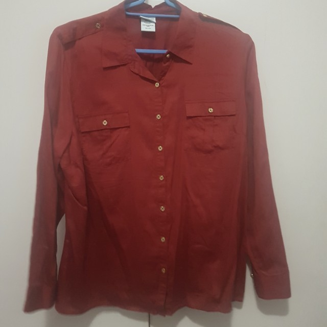 Red button down polo with gold buttons xxL