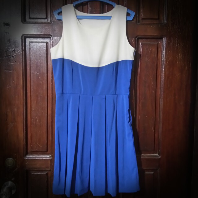 Redhead Off White And Blue Sleeveless Dress