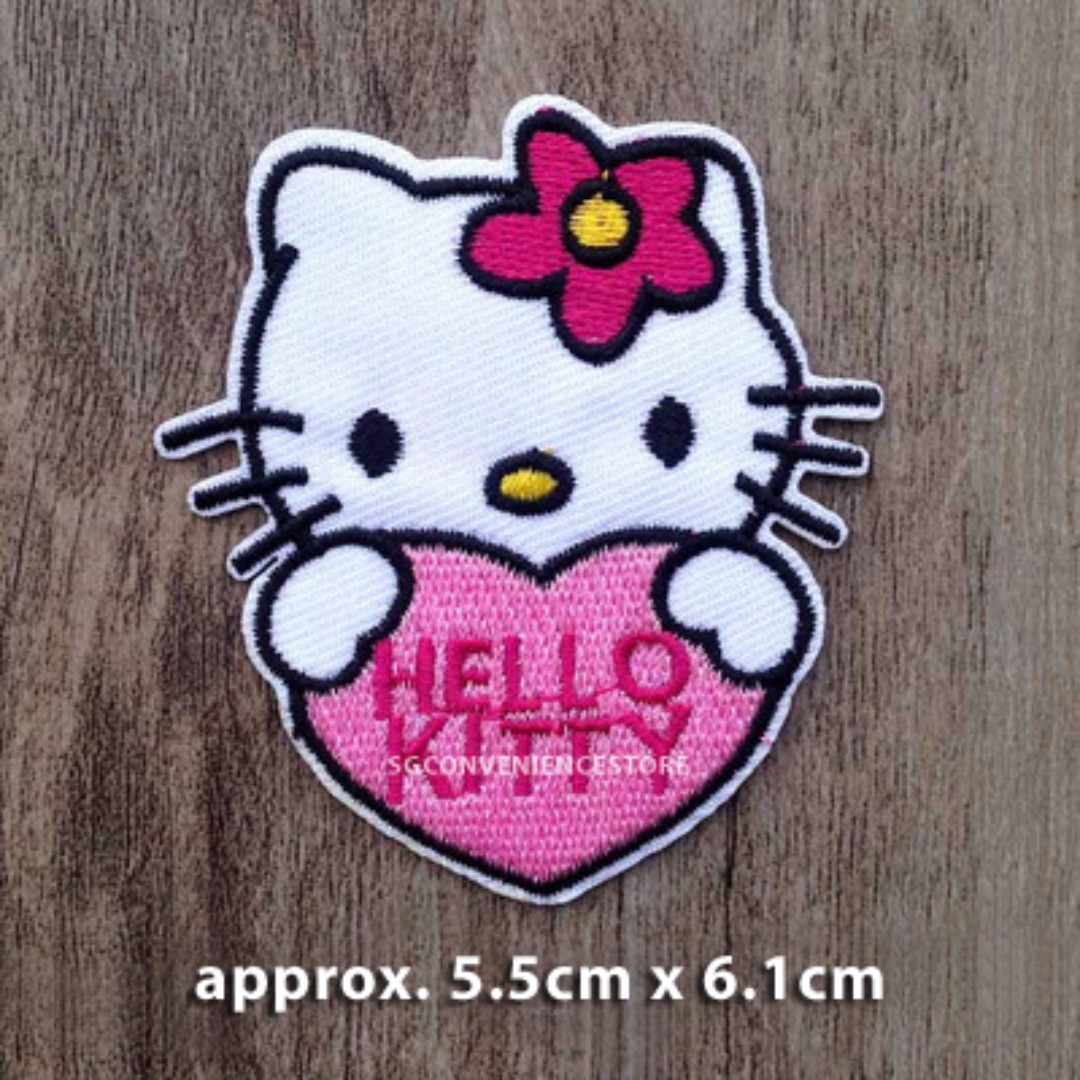 a247ece46 Sanrio Hello Kitty Heart Cat DIY Embroidery Iron On Patch Applique ...