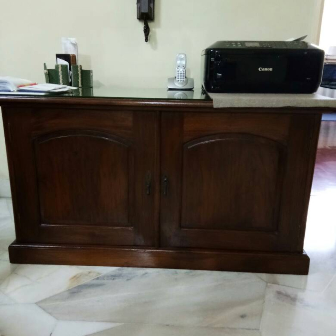 Solid Teak Wood Custom Made Antique Cabinet With Glass Top