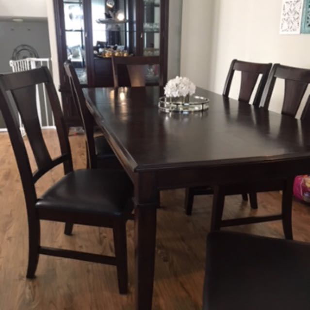 Solid Wood Dark Espresso Dining Chairs (6)