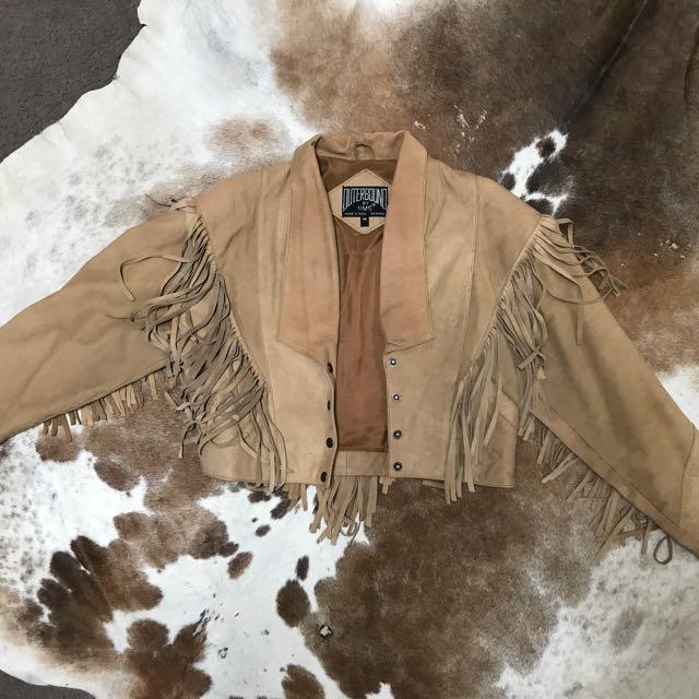 Vintage beige leather tassel jacket