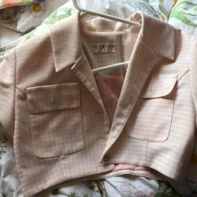 vintage pink gingham crop 6-8