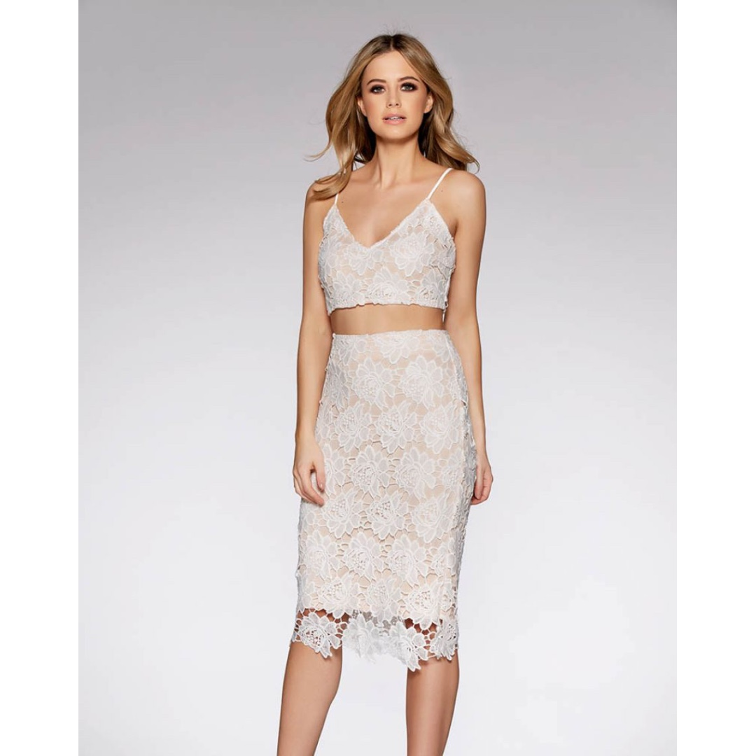 White And Nude Lace Bralet Top