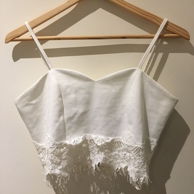 White crop top with lace details
