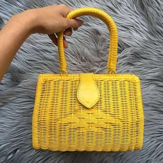 Rattan yellow summer bag