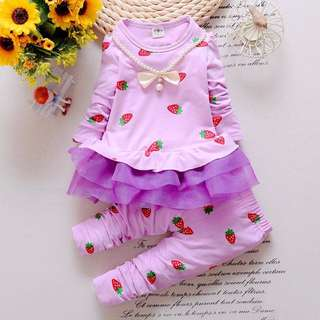 Lilac Strawberry Blouse Set 18m size