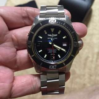 Authentic Breitling Automatic Superocean 44 Black Dial Stainless Steel Men's Watch