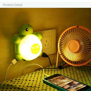 Green turtle night lamp multifunction multiple charger.  Energy saving