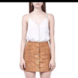 The Editor's Market brown suede skirt
