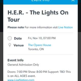 sellinH.E.R- The Lights On Tour for Friday, November 10