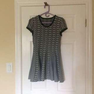 Black Pattern Sweater Dress