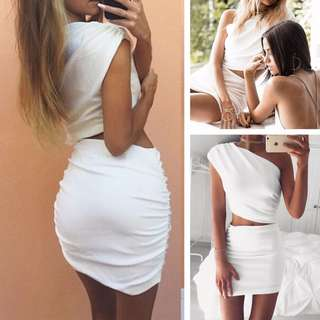 One Shoulder White Two Piece
