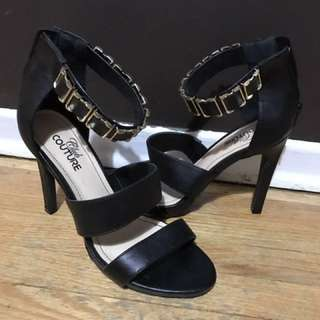 Black open toe heel