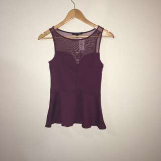 Maroon Sleeveless Peplum Top