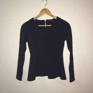 Long Sleeve Black Peplum Top