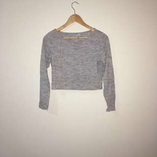 Grey Long Sleeve Crop Top