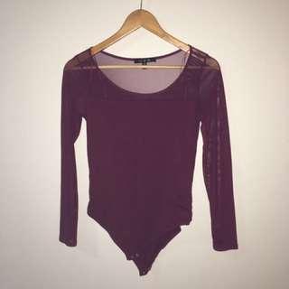 Maroon Mesh Sleeve Bodysuit