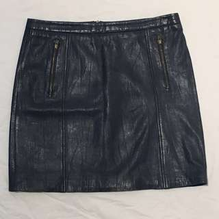 Gorman Navy Leather Mini Skirt