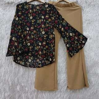 Ready stock set blouse +palazzo